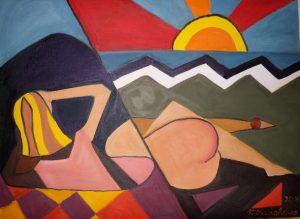 0100- cyklus Moderna -U vody- olej na plátně 45x60