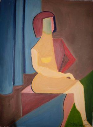 0118-cyklus Moderna- Před oponou-olej na plátně 45x60
