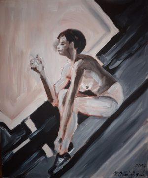 15- akt S cigaretou- akryl na plátně 50x40