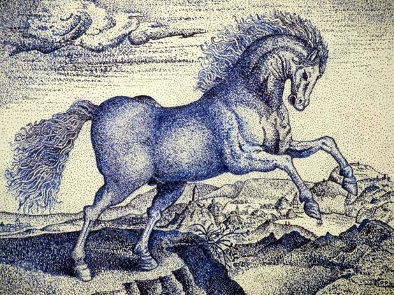 untamed horse - Hendrick Goltzius reproduction 1578, point pen drawing, by Peter Pavluvcik.