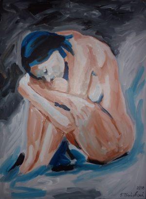 40- akt V bystřině- akryl na plátně 80x60