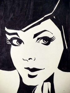 Portrait ink drawing by Peter Pavluvcik.