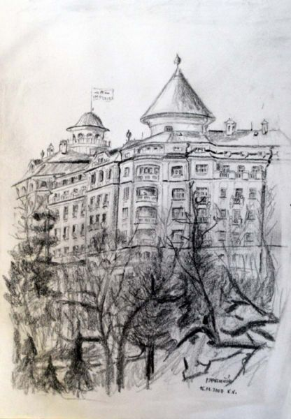 Hotel Imperial - Karlovy Vary, pencil drawing, paper, by Peter Pavluvcik.