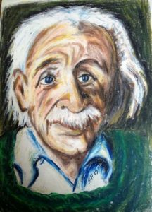 Theoretical physicist Albert Einstein (March 14, 1879 Ulm, Germany - April 18, 1955, Princeton, New Jersey, USA) - Portrait drawing wax pastels /1979/ by Peter Pavluvcik.