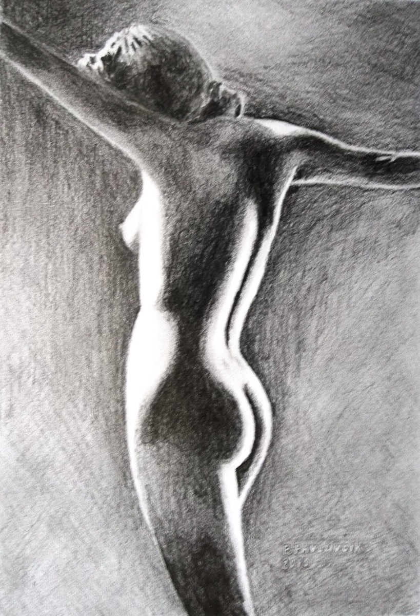 Peter Pavluvcik - naked female figure, drawing, pencil 7.