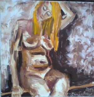 0430- akt S netopýry-olej na plátně 40x40