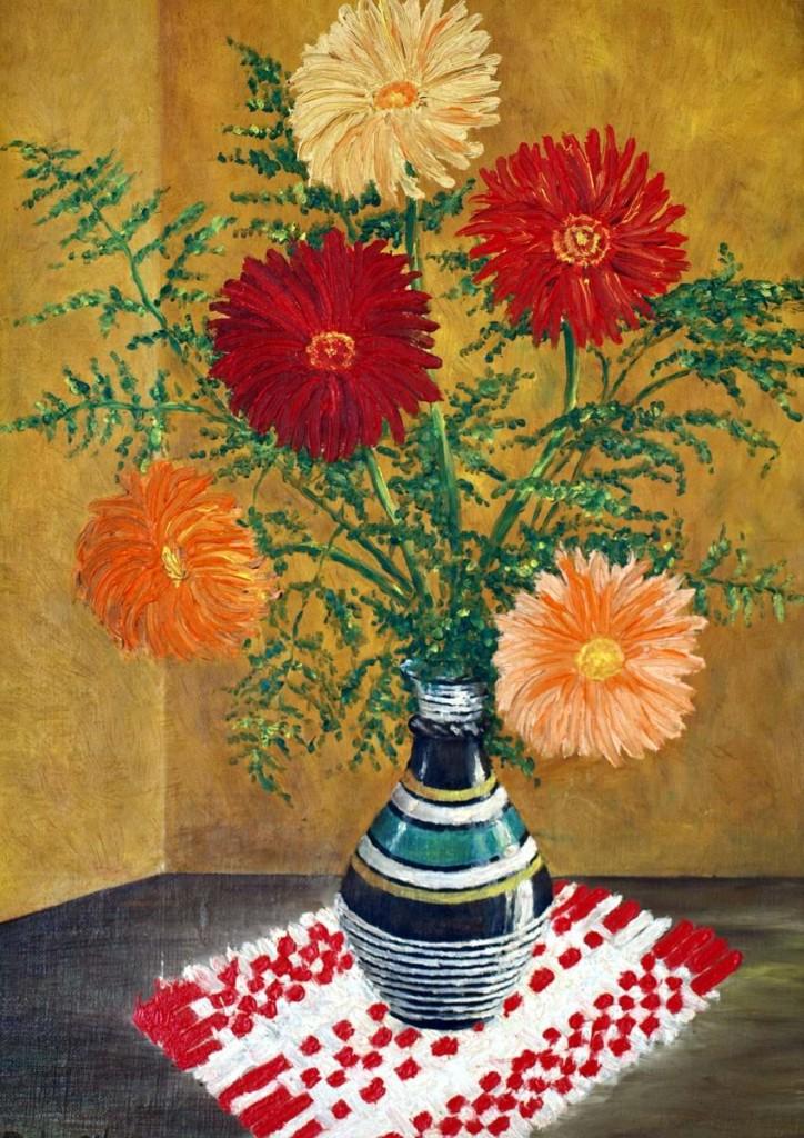 Gerbera in a vase, oil painting, hardboard, by Peter Pavluvcik.