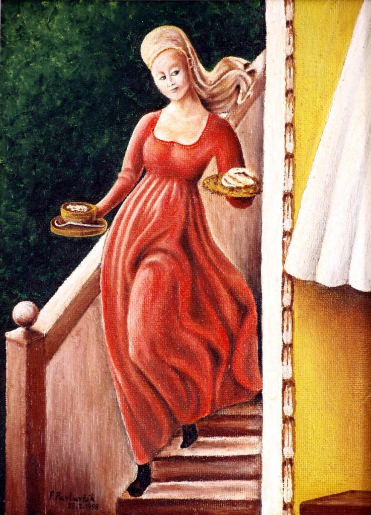 Hostess - oil painting by Peter Pavluvcik. According to the fresco cycle of Lif of Our Lady and St. Stepan, 1433-34 (fresco), from Uccello, Paolo (Florence, 1397-1475).