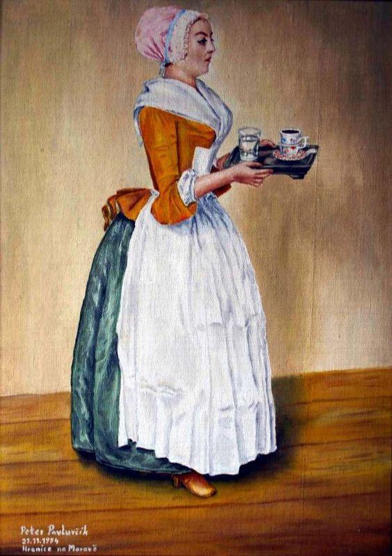 Cup of chocolate, artist Peter Pavluvčík, theme Jean-Étienne Liotard, 1745, 82x52 cm, Staatliche Kunstammlungen, Dresden creation in 1974, oil painting, cardboardcanvas, 70x50 cm.