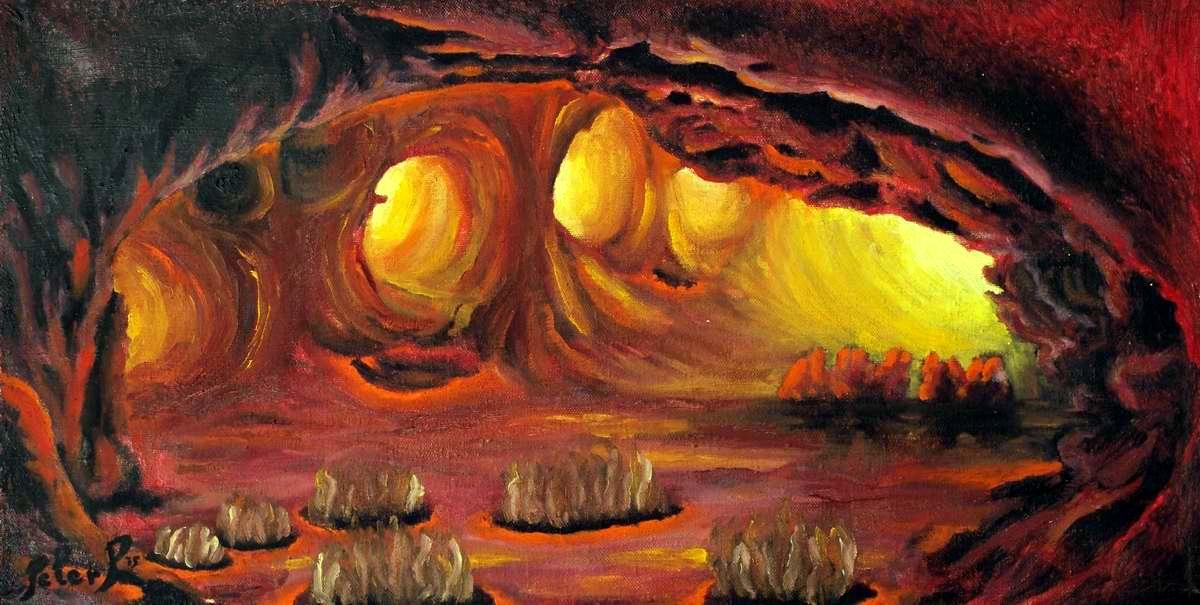 Selecting paths, artist Peter Pavluvčík, 1975, oil on canvas, 100 x 52 cm.