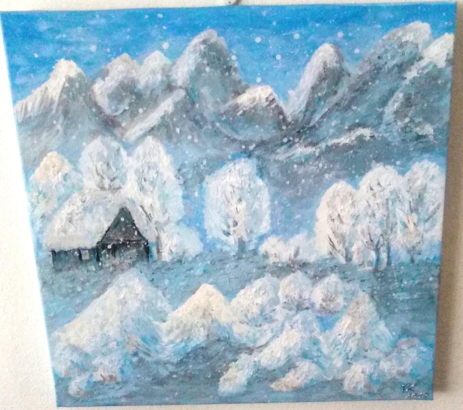 Zimná-Krajina-opustený-dom