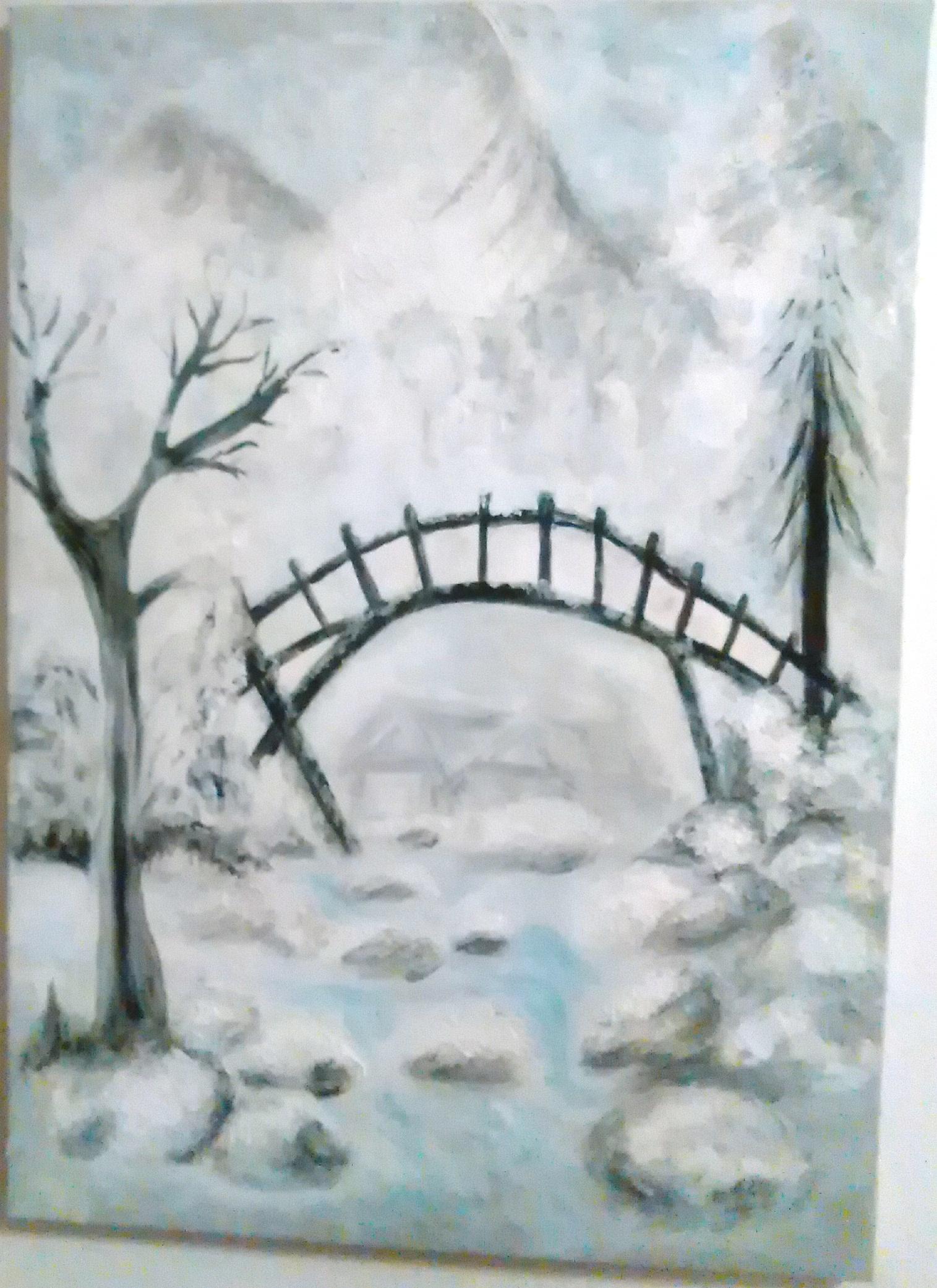 Zimná-Krajina-zamrznutý-potok-starý-drevený-most