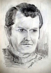 portrait drawing with pencil by Peter Pavluvcik - Father of the artist, 1976.