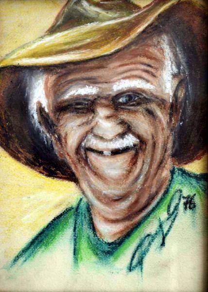 Portrait drawing wax pastels by Peter Pavluvcik -gardener .