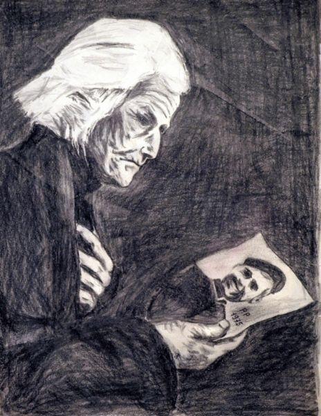 Pencil Drawing by Peter Pavluvcik - mother