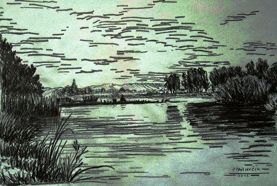 River Bečva at Drahotuš, pencil drawing, paper, by Peter Pavluvčík.